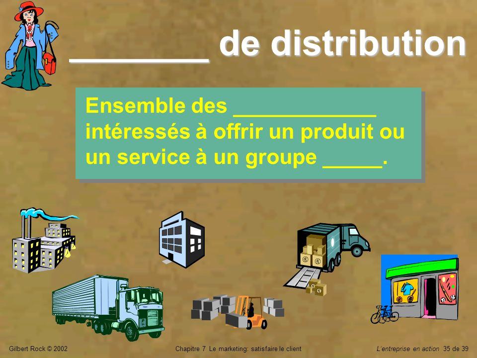 Gilbert Rock © 2002Chapitre 7 Le marketing: satisfaire le clientLentreprise en action 35 de 39 _______ de distribution Ensemble des ____________ intér