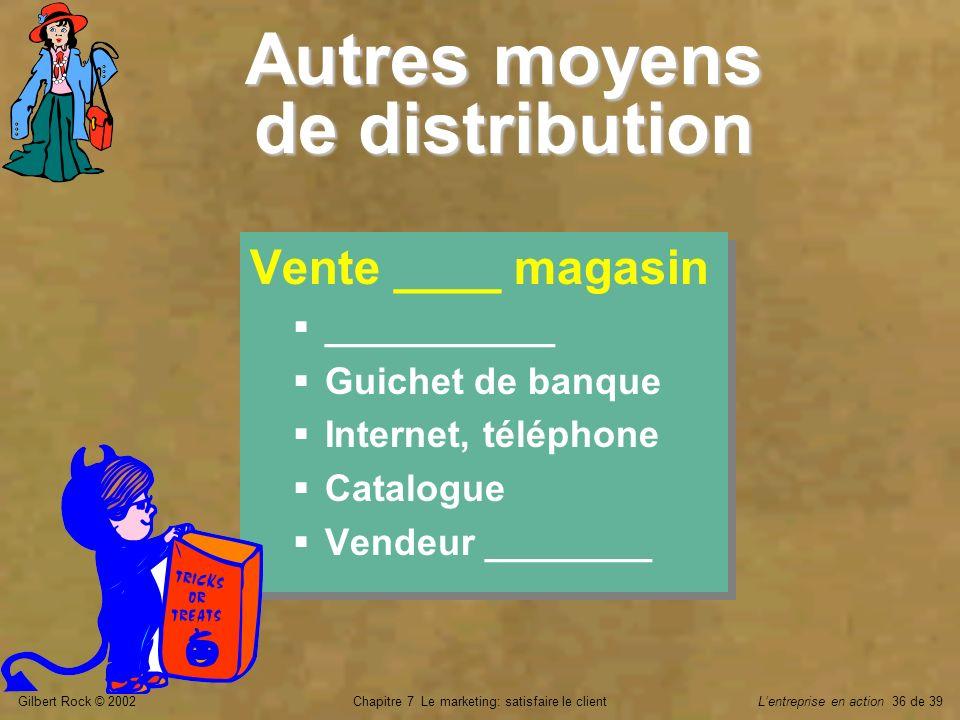 Gilbert Rock © 2002Chapitre 7 Le marketing: satisfaire le clientLentreprise en action 36 de 39 Autres moyens de distribution Vente ____ magasin ______
