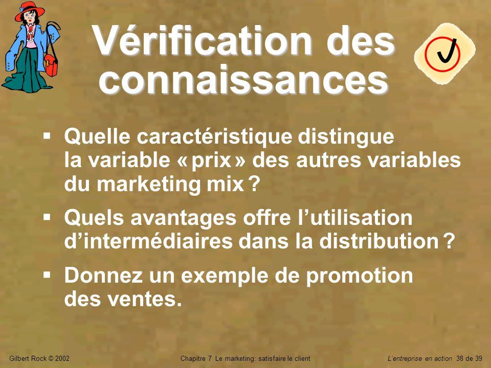 Gilbert Rock © 2002Chapitre 7 Le marketing: satisfaire le clientLentreprise en action 38 de 39 Vérification des connaissances Quelle caractéristique d