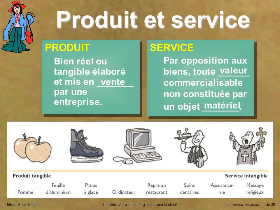 Gilbert Rock © 2002Chapitre 7 Le marketing: satisfaire le clientLentreprise en action 36 de 39 Autres moyens de distribution Vente ____ magasin ___________ Guichet de banque Internet, téléphone Catalogue Vendeur ________ Vente ____ magasin ___________ Guichet de banque Internet, téléphone Catalogue Vendeur ________