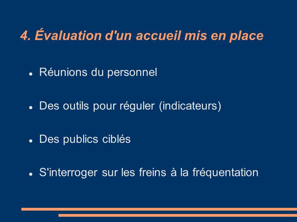 4. Évaluation d'un accueil mis en place Réunions du personnel Des outils pour réguler (indicateurs) Des publics ciblés S'interroger sur les freins à l