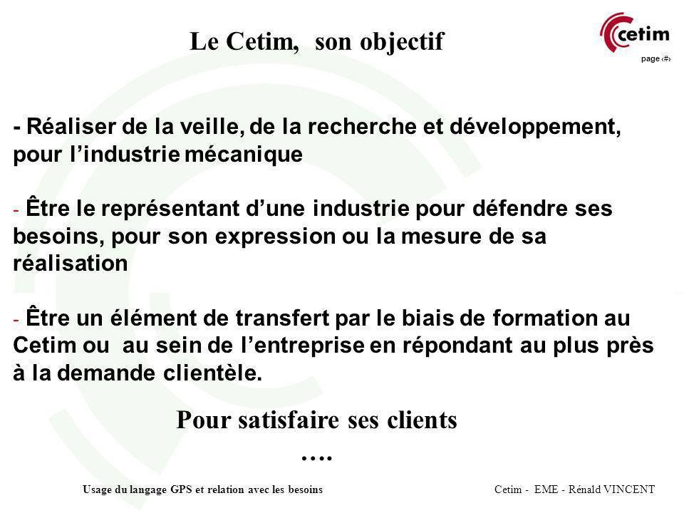 page 12 Usage du langage GPS et relation avec les besoins Cetim - EME - Rénald VINCENT Le Cetim, son objectif - Réaliser de la veille, de la recherche