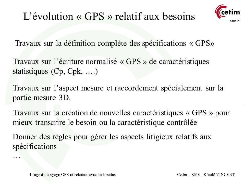page 8 Usage du langage GPS et relation avec les besoins Cetim - EME - Rénald VINCENT Travaux sur la définition complète des spécifications « GPS» Tra
