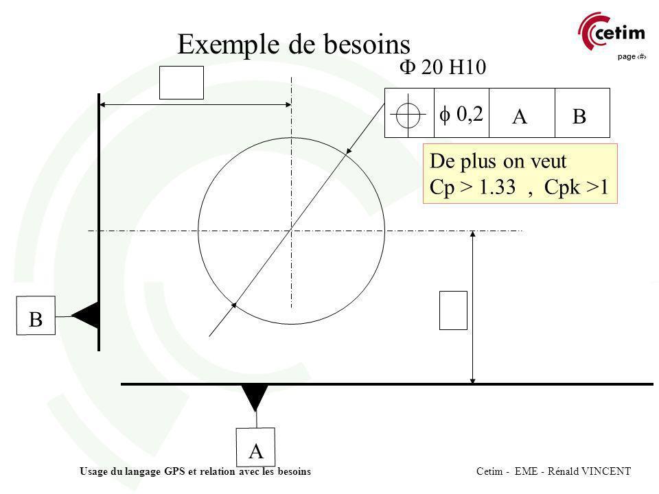 page 9 Usage du langage GPS et relation avec les besoins Cetim - EME - Rénald VINCENT 0,2 AB A B 20 H10 De plus on veut Cp > 1.33, Cpk >1 Exemple de b
