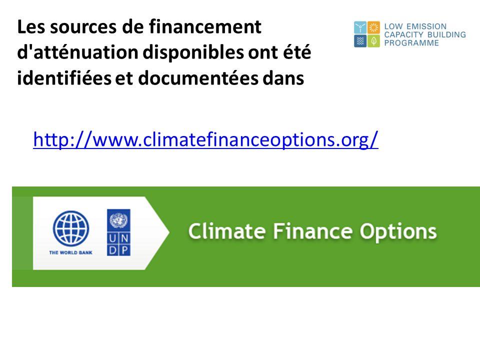 http://www.climatefinanceoptions.org/ Les sources de financement d atténuation disponibles ont été identifiées et documentées dans