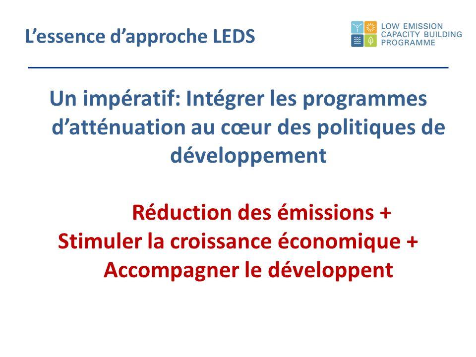 Lessence dapproche LEDS Un impératif: Intégrer les programmes datténuation au cœur des politiques de développement Réduction des émissions + Stimuler la croissance économique + Accompagner le développent