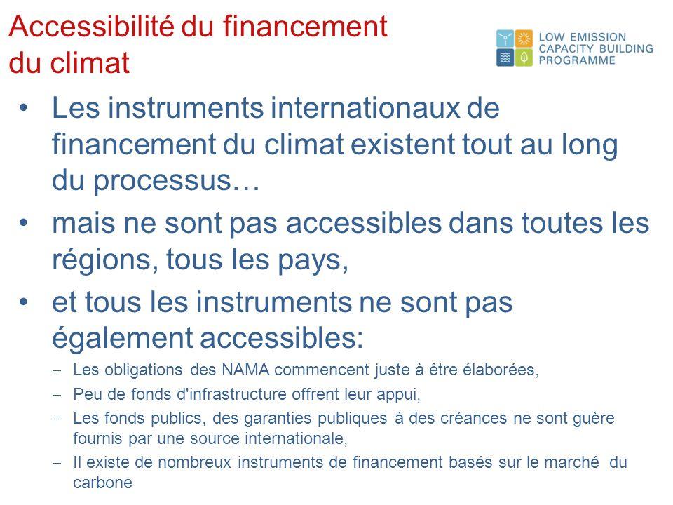 Accessibilité du financement du climat Les instruments internationaux de financement du climat existent tout au long du processus… mais ne sont pas accessibles dans toutes les régions, tous les pays, et tous les instruments ne sont pas également accessibles: Les obligations des NAMA commencent juste à être élaborées, Peu de fonds d infrastructure offrent leur appui, Les fonds publics, des garanties publiques à des créances ne sont guère fournis par une source internationale, Il existe de nombreux instruments de financement basés sur le marché du carbone