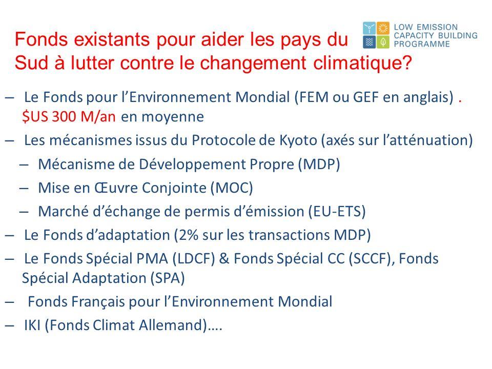 Fonds existants pour aider les pays du Sud à lutter contre le changement climatique.
