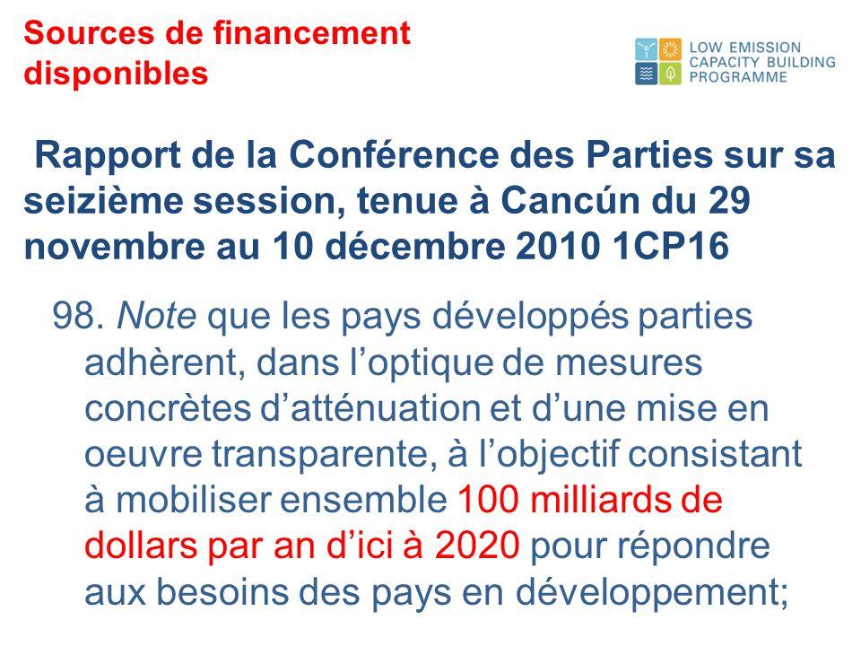 Rapport de la Conférence des Parties sur sa seizième session, tenue à Cancún du 29 novembre au 10 décembre 2010 1CP16 98.