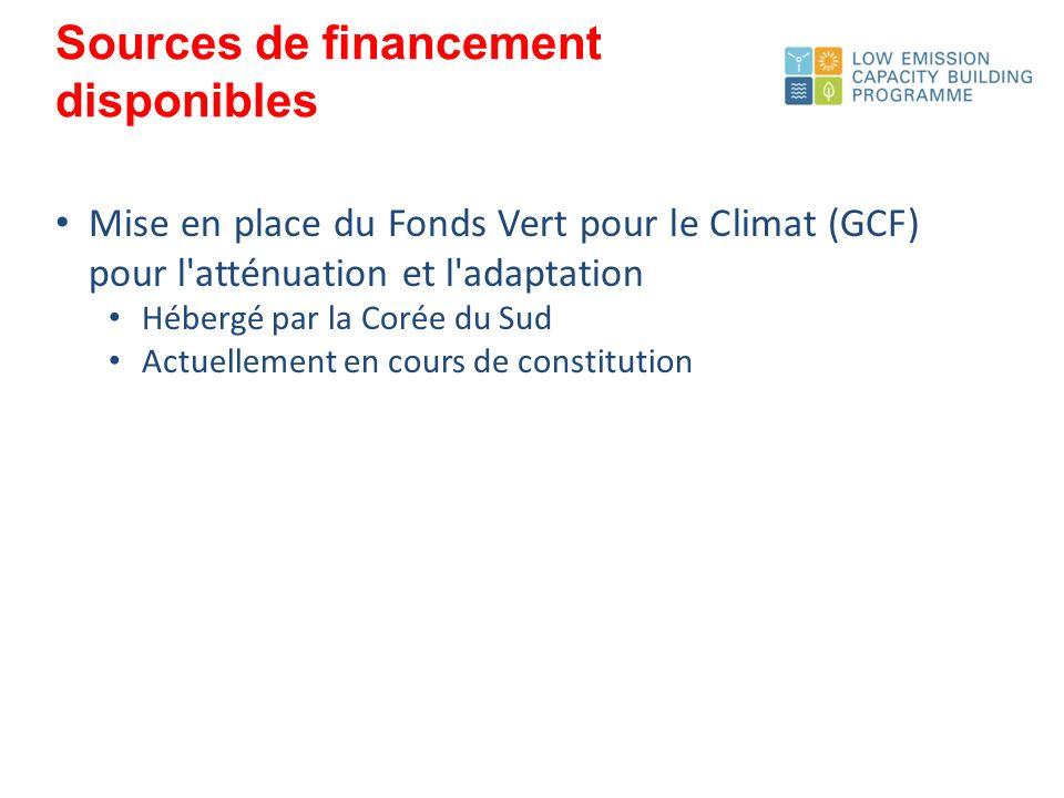 Mise en place du Fonds Vert pour le Climat (GCF) pour l atténuation et l adaptation Hébergé par la Corée du Sud Actuellement en cours de constitution