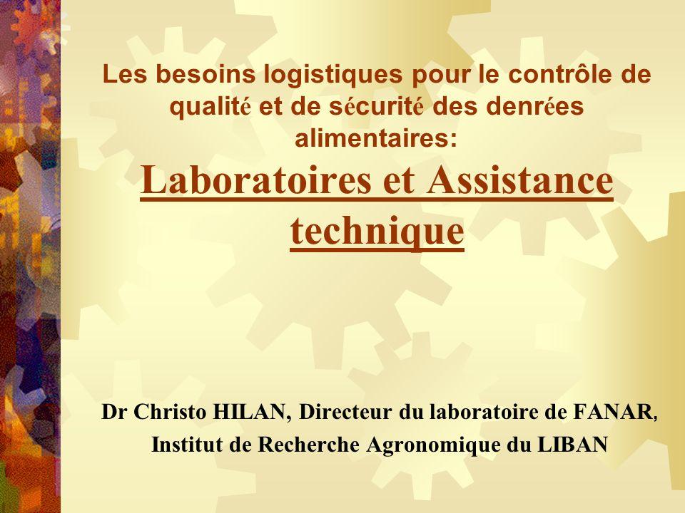Les besoins logistiques pour le contrôle de qualit é et de s é curit é des denr é es alimentaires: Laboratoires et Assistance technique Dr Christo HIL