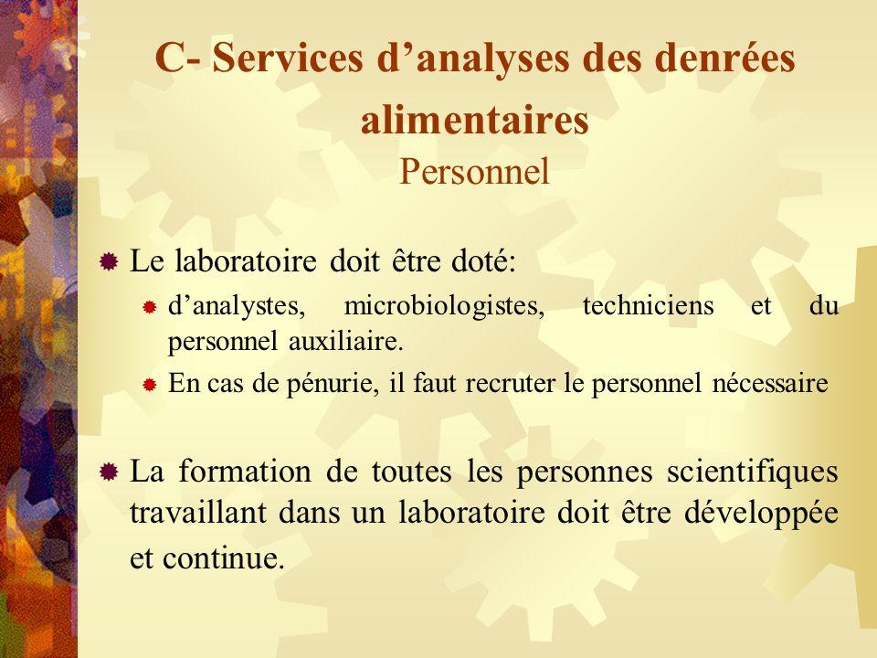 C- Services danalyses des denrées alimentaires Personnel Le laboratoire doit être doté: danalystes, microbiologistes, techniciens et du personnel auxi