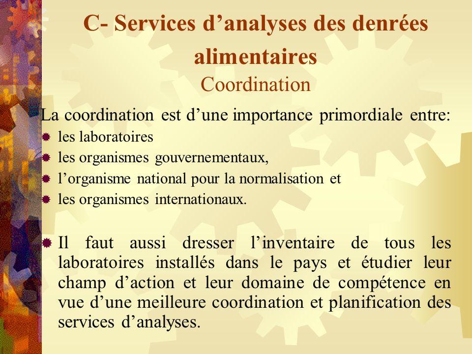 C- Services danalyses des denrées alimentaires Coordination La coordination est dune importance primordiale entre: les laboratoires les organismes gou
