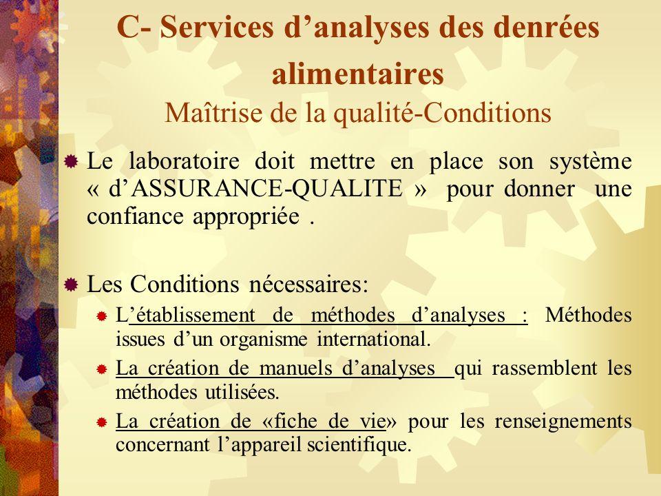 C- Services danalyses des denrées alimentaires Maîtrise de la qualité-Conditions Le laboratoire doit mettre en place son système « dASSURANCE-QUALITE