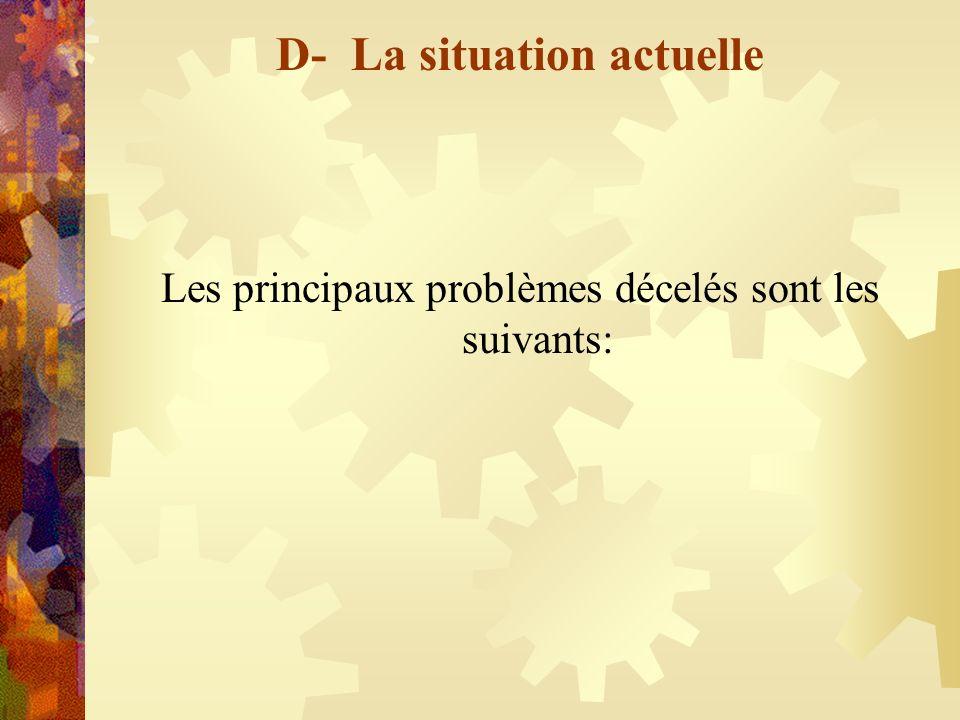 D- La situation actuelle Les principaux problèmes décelés sont les suivants: