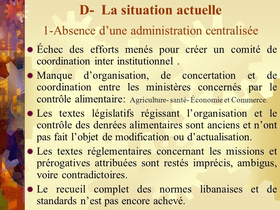 D- La situation actuelle 1-Absence dune administration centralisée Échec des efforts menés pour créer un comité de coordination inter institutionnel.