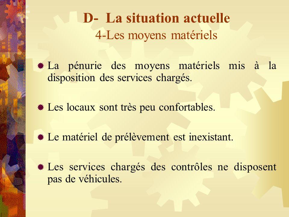 D- La situation actuelle 4-Les moyens matériels La pénurie des moyens matériels mis à la disposition des services chargés. Les locaux sont très peu co