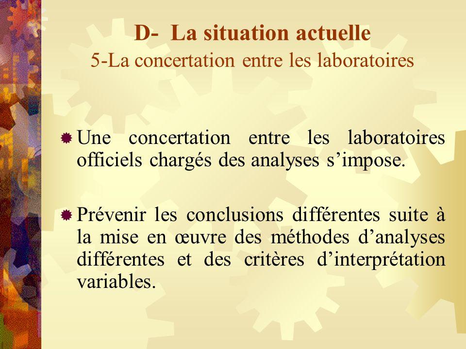 D- La situation actuelle 5-La concertation entre les laboratoires Une concertation entre les laboratoires officiels chargés des analyses simpose. Prév