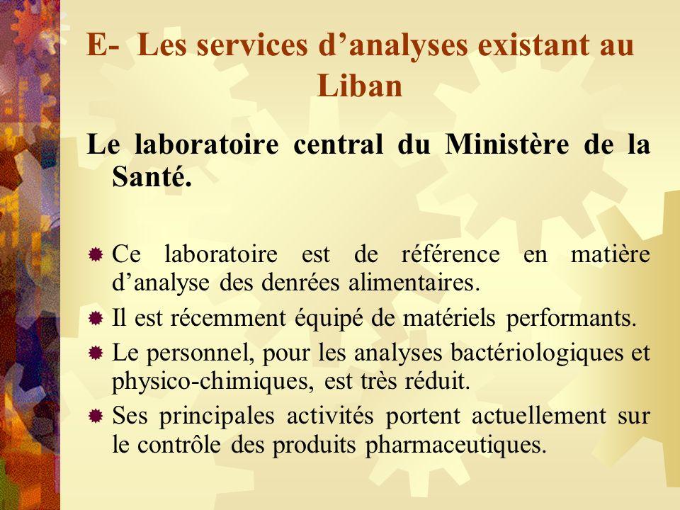 E- Les services danalyses existant au Liban Le laboratoire central du Ministère de la Santé. Ce laboratoire est de référence en matière danalyse des d