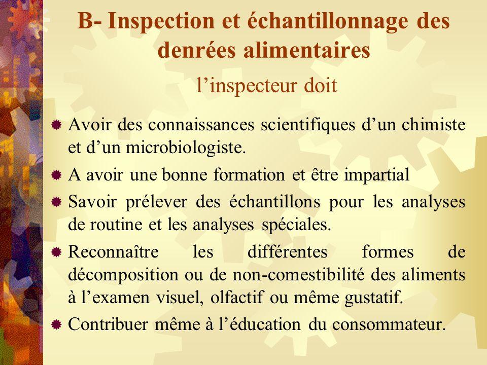 B- Inspection et échantillonnage des denrées alimentaires linspecteur doit Avoir des connaissances scientifiques dun chimiste et dun microbiologiste.