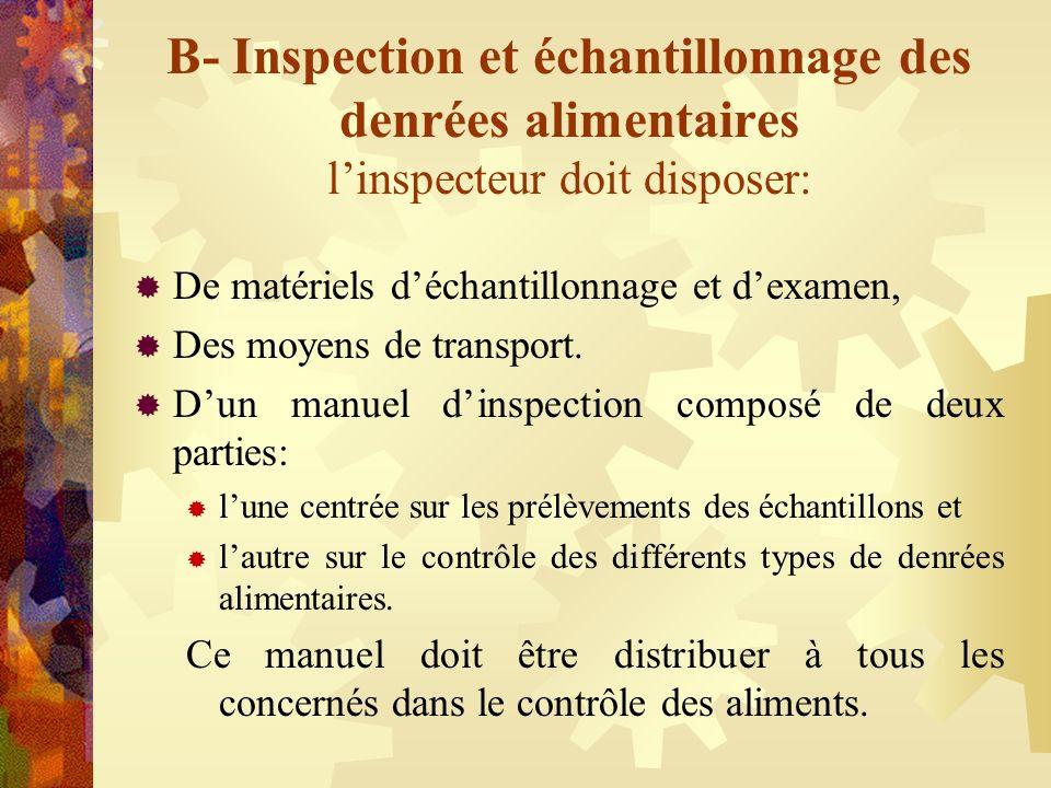 B- Inspection et échantillonnage des denrées alimentaires linspecteur doit disposer: De matériels déchantillonnage et dexamen, Des moyens de transport