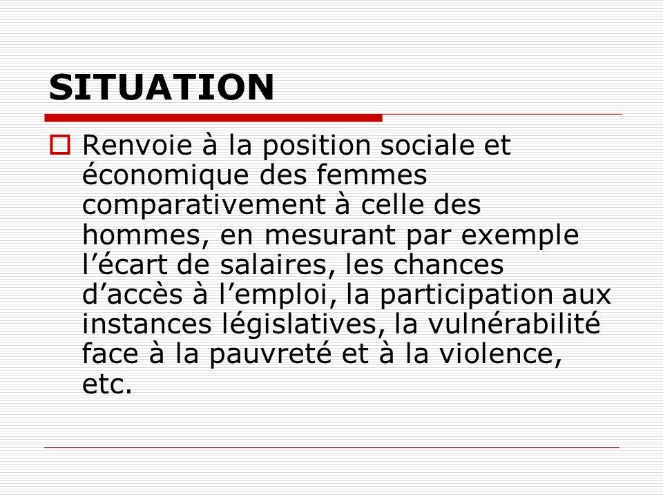 SITUATION Renvoie à la position sociale et économique des femmes comparativement à celle des hommes, en mesurant par exemple lécart de salaires, les chances daccès à lemploi, la participation aux instances législatives, la vulnérabilité face à la pauvreté et à la violence, etc.