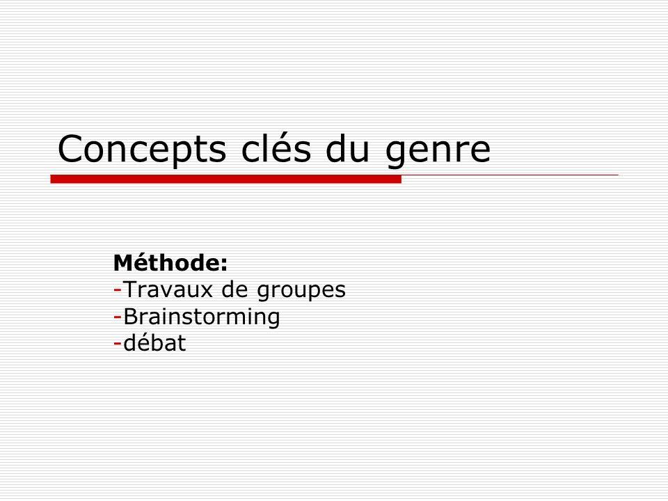 Concepts clés du genre Méthode: -Travaux de groupes -Brainstorming -débat
