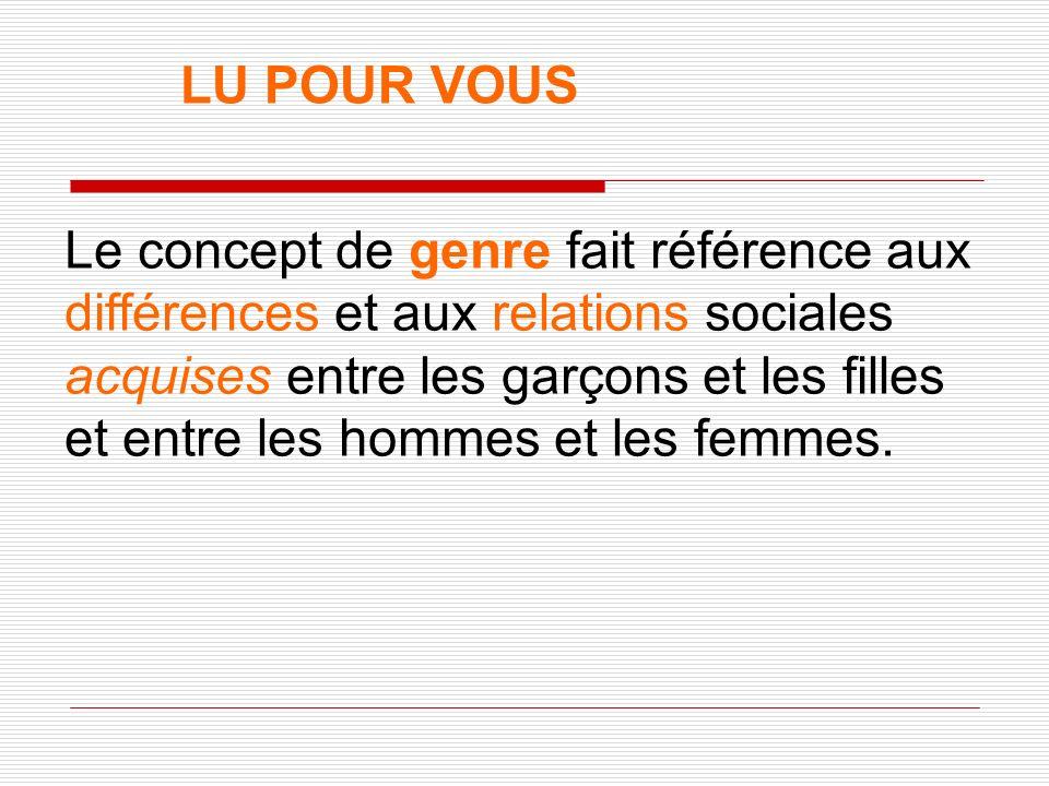 LU POUR VOUS Le concept de genre fait référence aux différences et aux relations sociales acquises entre les garçons et les filles et entre les hommes et les femmes.