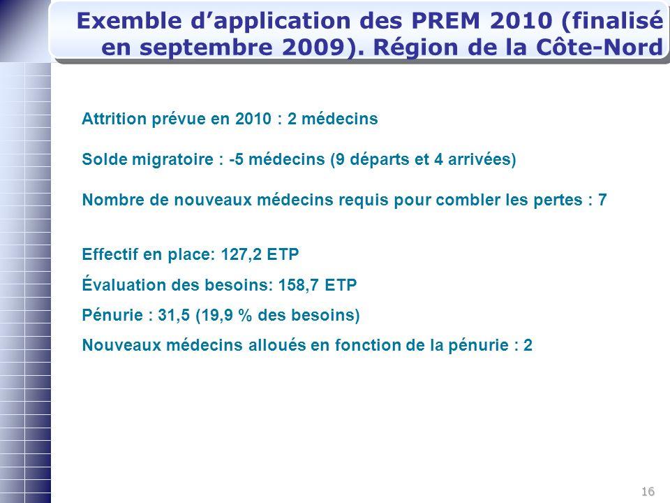 16 Exemble dapplication des PREM 2010 (finalisé en septembre 2009).