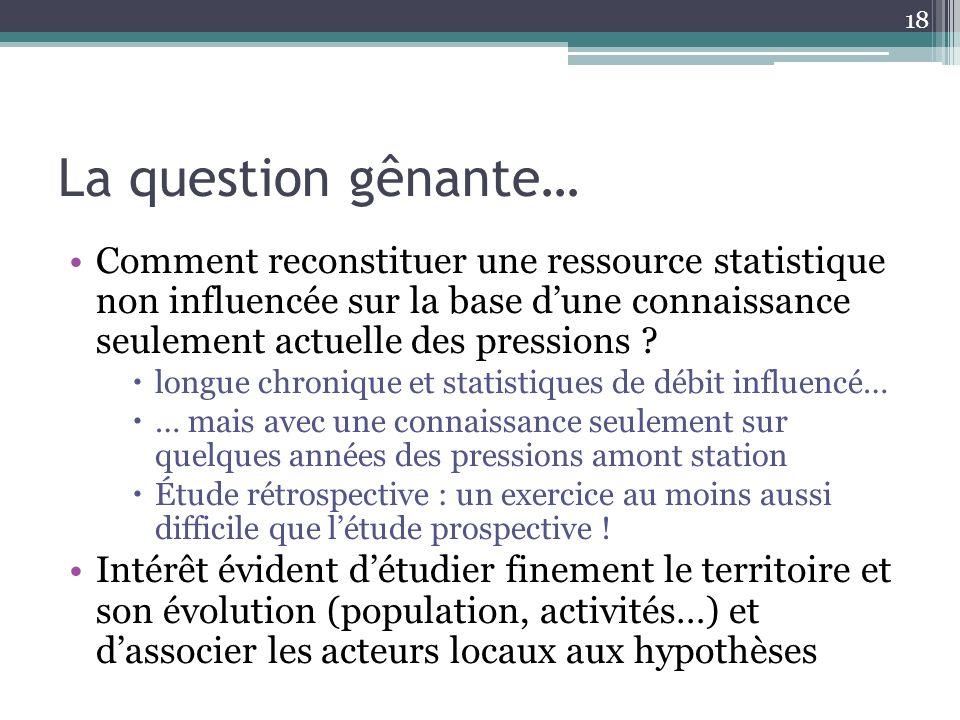 La question gênante… Comment reconstituer une ressource statistique non influencée sur la base dune connaissance seulement actuelle des pressions ? lo