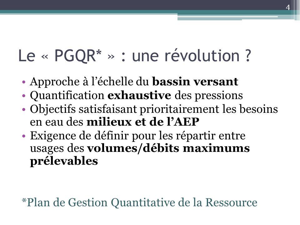 Le « PGQR* » : une révolution ? Approche à léchelle du bassin versant Quantification exhaustive des pressions Objectifs satisfaisant prioritairement l