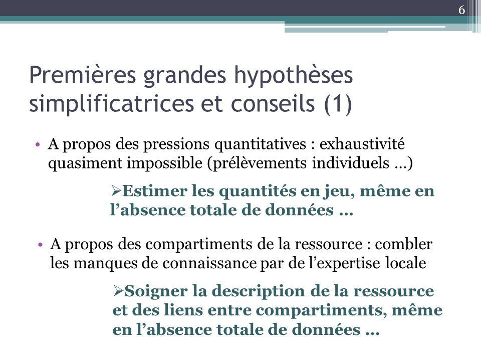 Premières grandes hypothèses simplificatrices et conseils (1) A propos des pressions quantitatives : exhaustivité quasiment impossible (prélèvements i