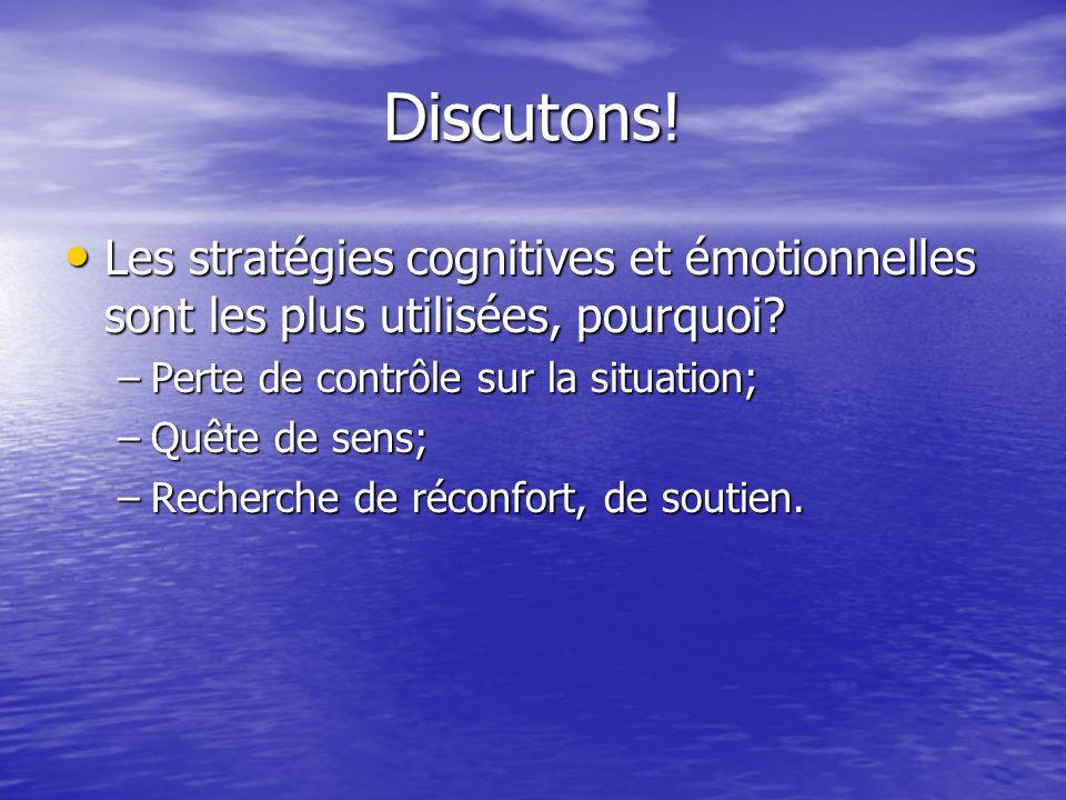 Discutons.Les stratégies cognitives et émotionnelles sont les plus utilisées, pourquoi.