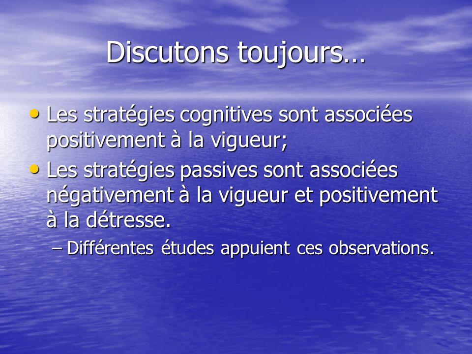Discutons toujours… Les stratégies cognitives sont associées positivement à la vigueur; Les stratégies cognitives sont associées positivement à la vigueur; Les stratégies passives sont associées négativement à la vigueur et positivement à la détresse.