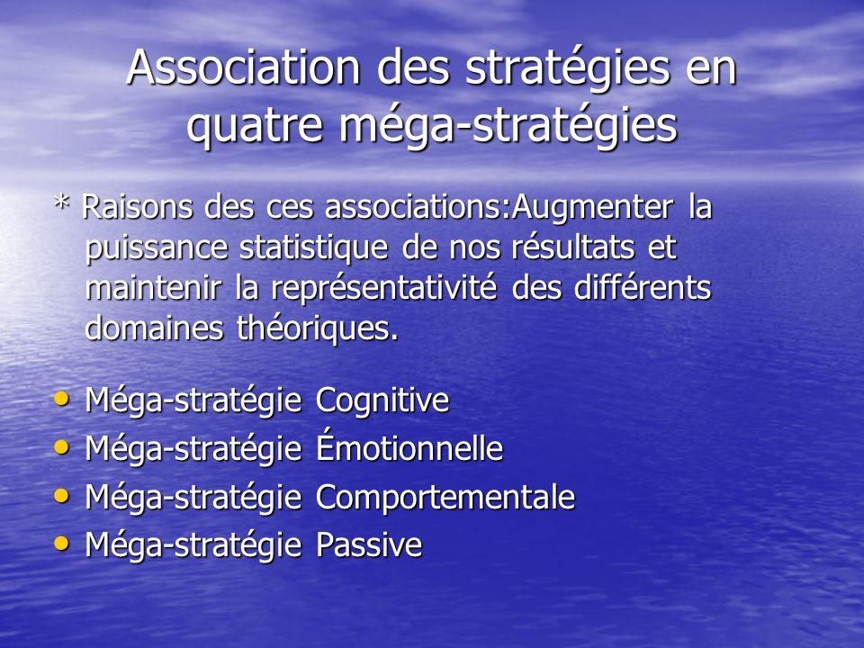 Association des stratégies en quatre méga-stratégies * Raisons des ces associations:Augmenter la puissance statistique de nos résultats et maintenir la représentativité des différents domaines théoriques.