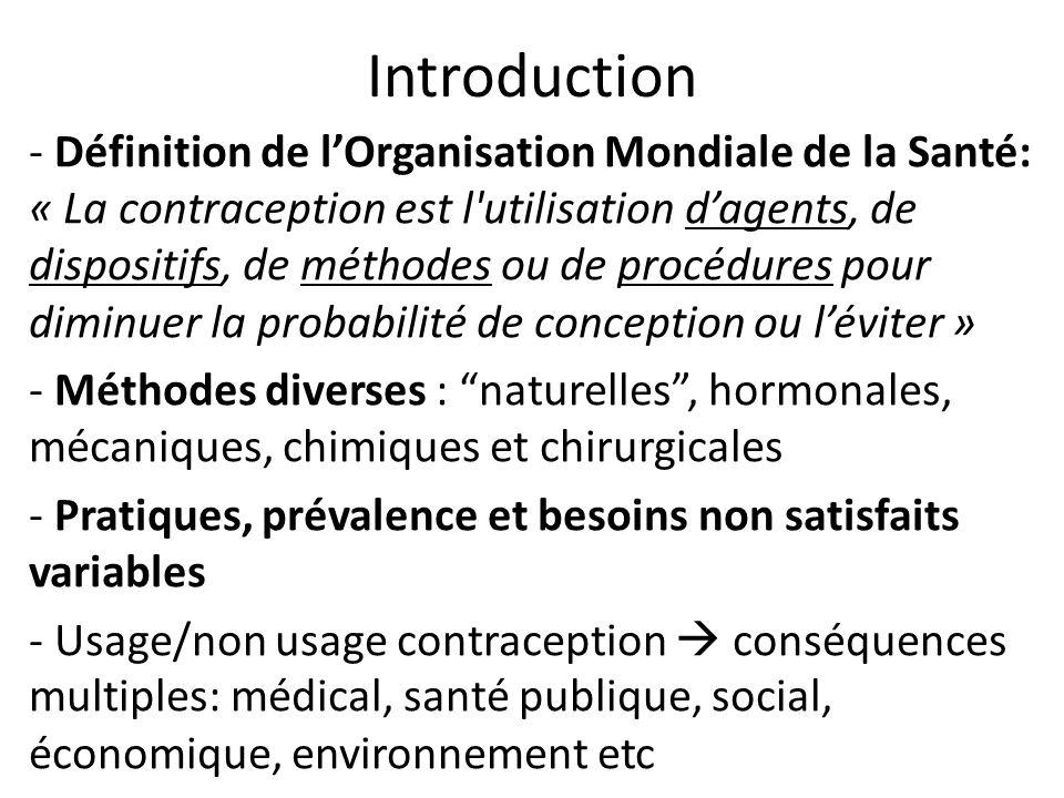Introduction - Définition de lOrganisation Mondiale de la Santé: « La contraception est l'utilisation dagents, de dispositifs, de méthodes ou de procé