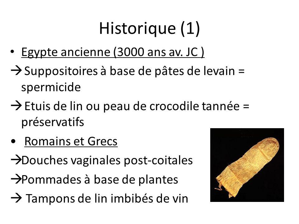 Historique (1) Egypte ancienne (3000 ans av. JC ) Suppositoires à base de pâtes de levain = spermicide Etuis de lin ou peau de crocodile tannée = prés