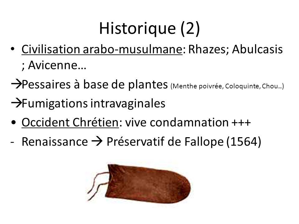 Historique (2) Civilisation arabo-musulmane: Rhazes; Abulcasis ; Avicenne… Pessaires à base de plantes (Menthe poivrée, Coloquinte, Chou..) Fumigation