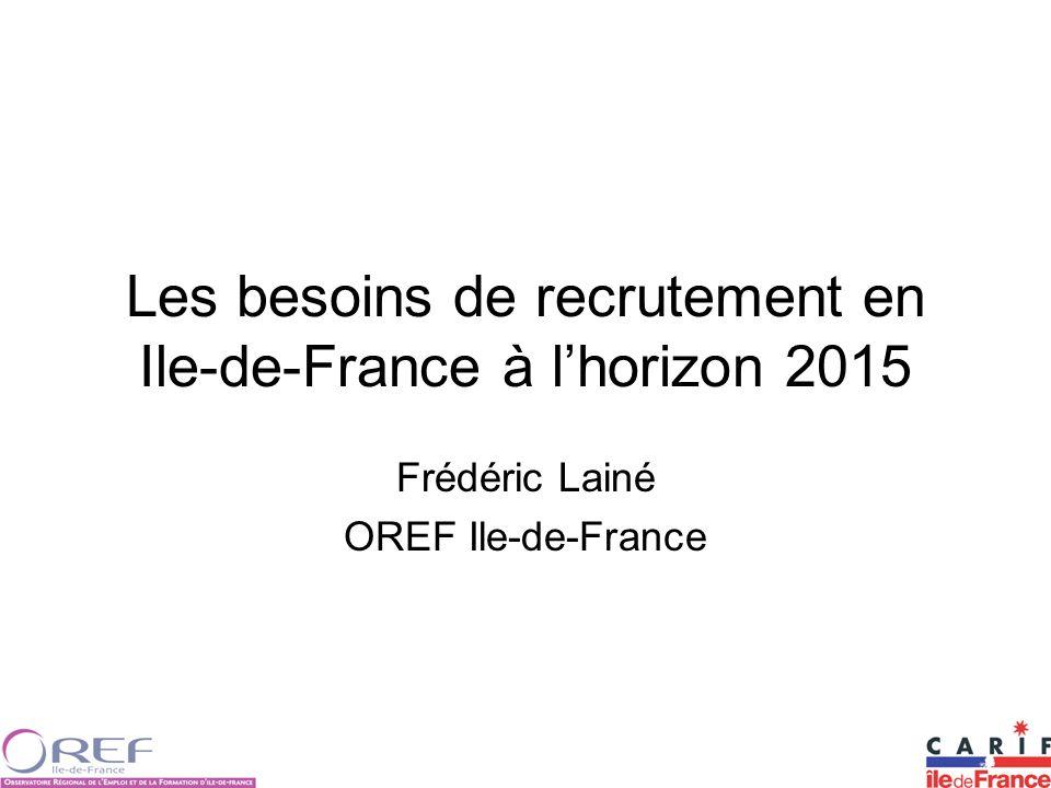 Les besoins de recrutement en Ile-de-France à lhorizon 2015 Frédéric Lainé OREF Ile-de-France