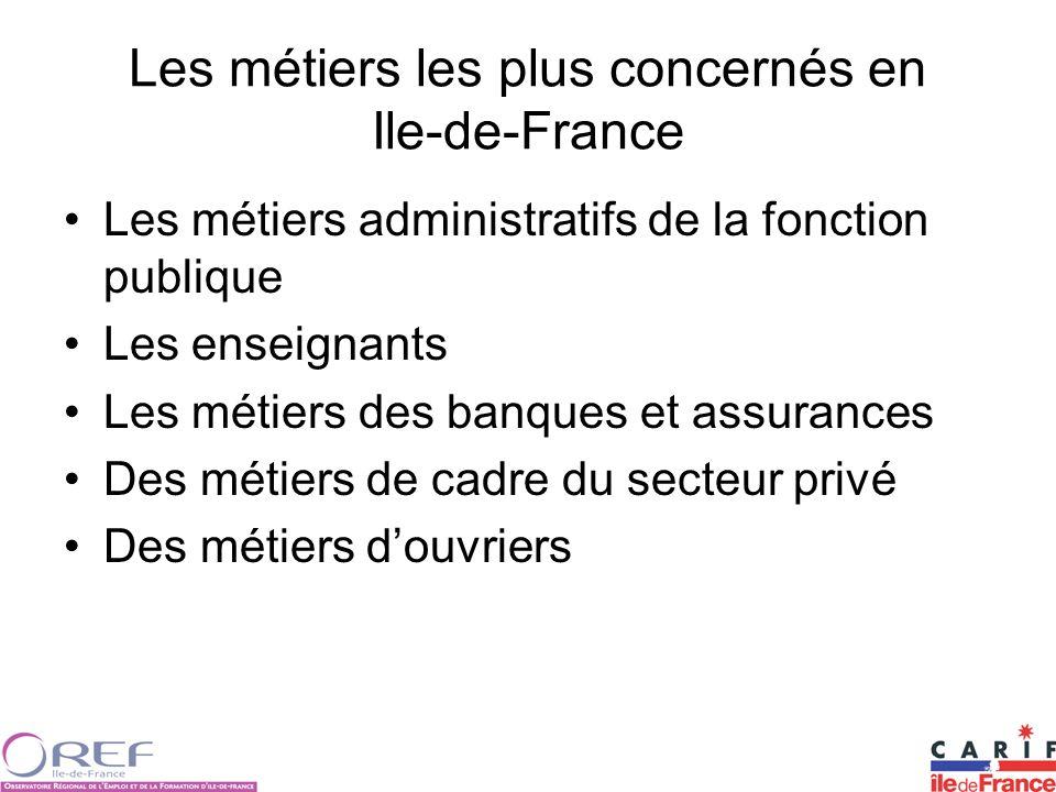 Les métiers les plus concernés en Ile-de-France Les métiers administratifs de la fonction publique Les enseignants Les métiers des banques et assurances Des métiers de cadre du secteur privé Des métiers douvriers