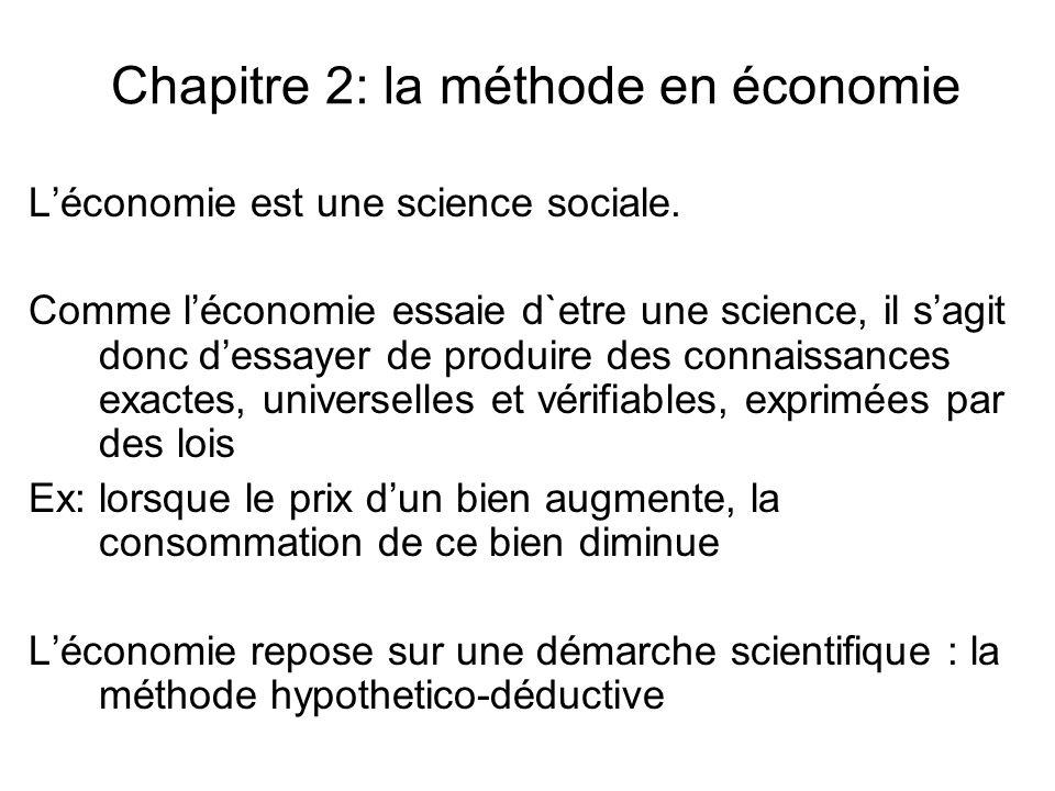Chapitre 2: la méthode en économie Léconomie est une science sociale. Comme léconomie essaie d`etre une science, il sagit donc dessayer de produire de
