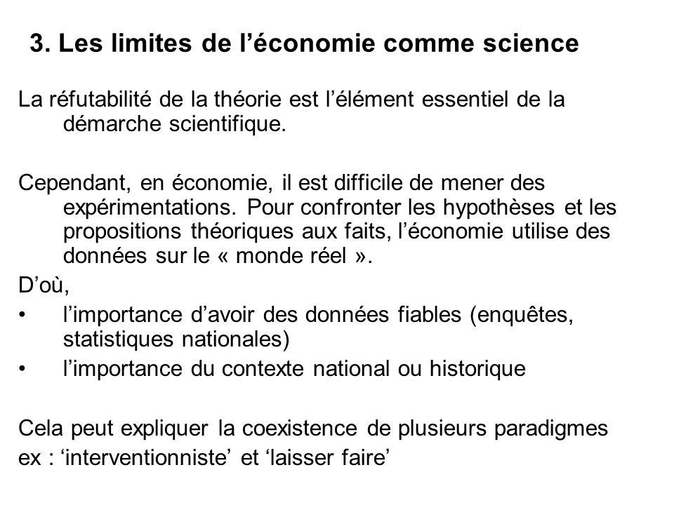 3. Les limites de léconomie comme science La réfutabilité de la théorie est lélément essentiel de la démarche scientifique. Cependant, en économie, il
