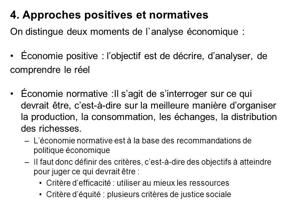 4. Approches positives et normatives On distingue deux moments de l`analyse économique : Économie positive : lobjectif est de décrire, danalyser, de c