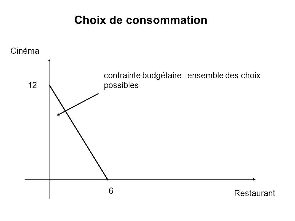 Choix de consommation Cinéma Restaurant contrainte budgétaire : ensemble des choix possibles 6 12