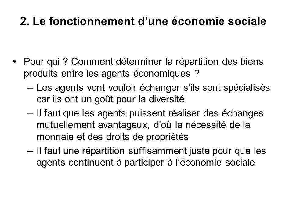 2. Le fonctionnement dune économie sociale Pour qui ? Comment déterminer la répartition des biens produits entre les agents économiques ? –Les agents