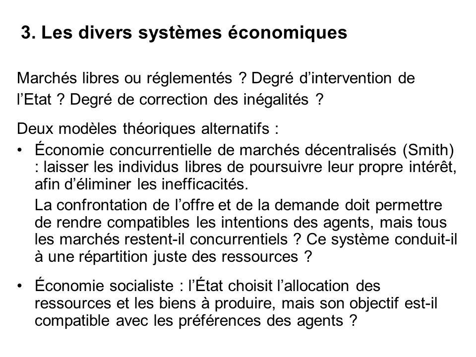 3. Les divers systèmes économiques Marchés libres ou réglementés ? Degré dintervention de lEtat ? Degré de correction des inégalités ? Deux modèles th