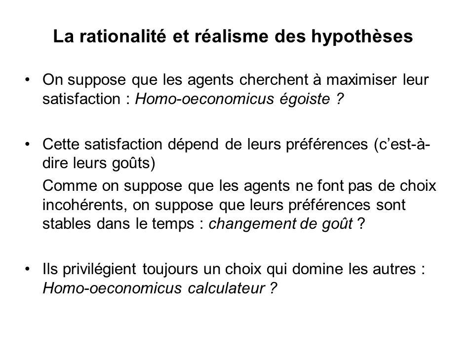 La rationalité et réalisme des hypothèses On suppose que les agents cherchent à maximiser leur satisfaction : Homo-oeconomicus égoiste ? Cette satisfa