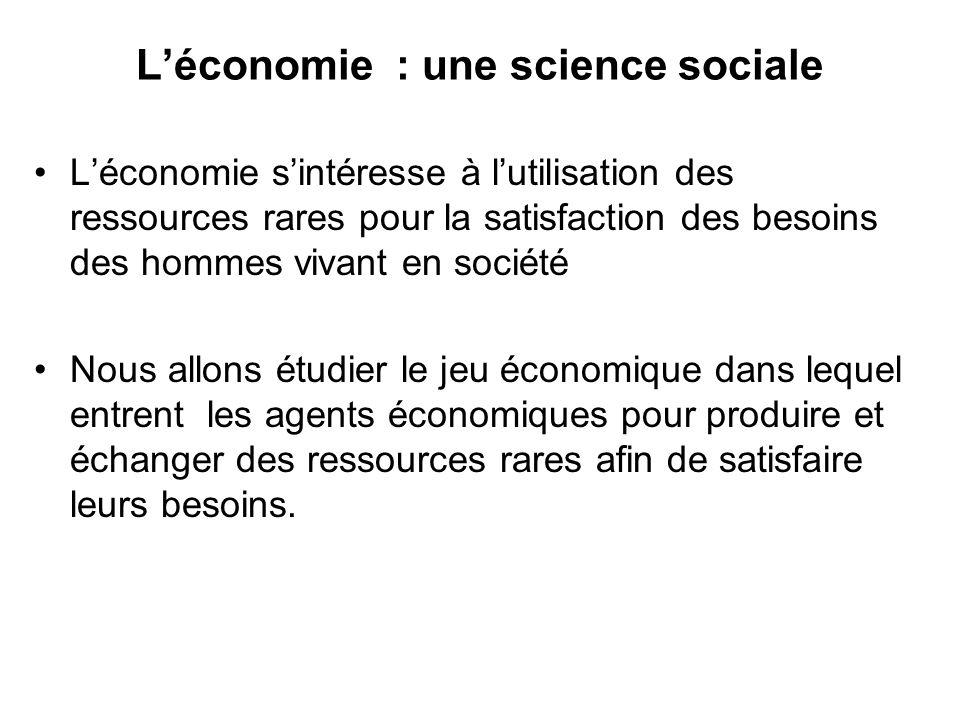 Léconomie : une science sociale Léconomie sintéresse à lutilisation des ressources rares pour la satisfaction des besoins des hommes vivant en société
