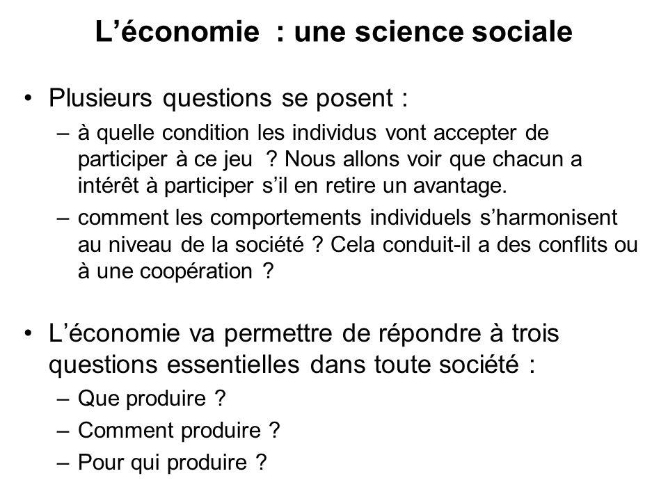 Chapitre 2: la méthode en économie Léconomie est une science sociale.