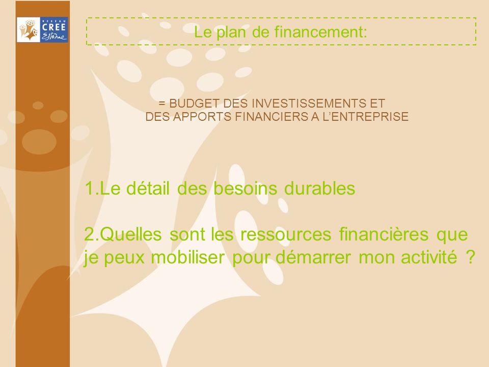 Le plan de financement: 1.Le détail des besoins durables 2.Quelles sont les ressources financières que je peux mobiliser pour démarrer mon activité ?